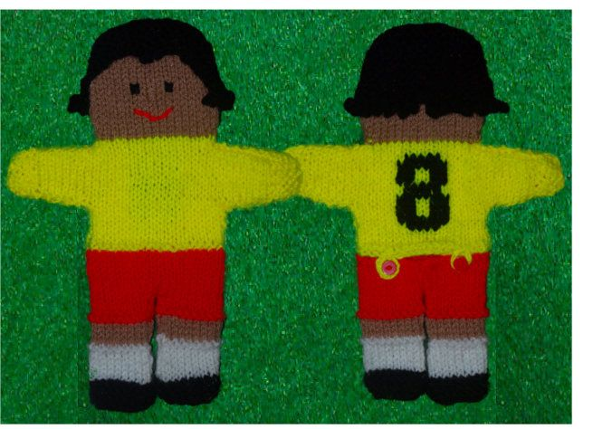 Footballer handpuppet knitting pattern (see additional instructions for sewing hair and number on shirt)