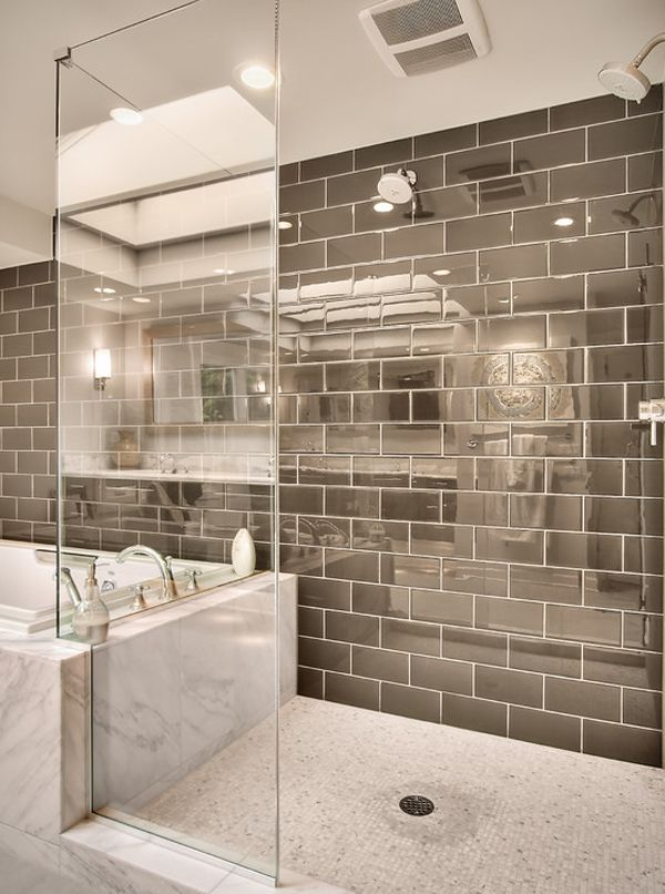 Monochromatic #bathroom, with a #marble #bathtub and open shower #design