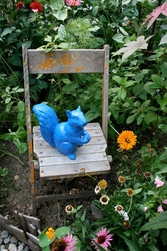 Ceramic Squirrel Standing True Blue by mercantilehome on Etsy