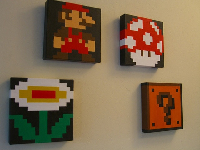 Minecraft Man Cave Ideas : Yes mario pixel paintings ideas for my home space