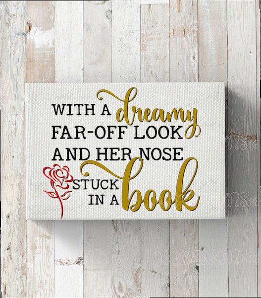 Dreamy Far Off Look Nose In A Book-Beauty And The Beast Song Lyrics-Vinyl Iron On Decal-Princess-Belle-Water Bottle-Car-Coffee Mug-Canvas by KGDESIGNS16 on Etsy