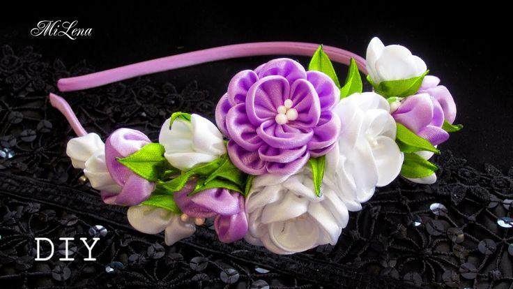 ОБОДОК КАНЗАШИ, МК / DIY Kanzashi Headband