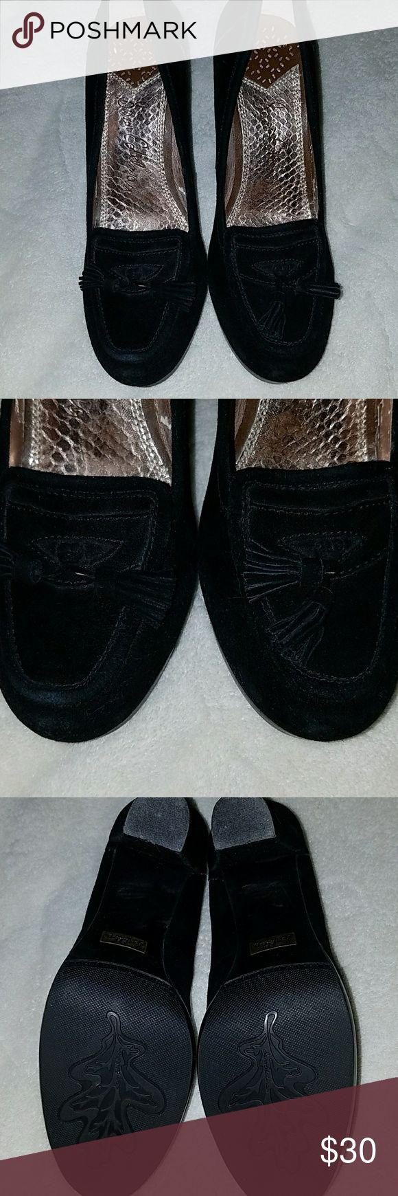 Sam Edleman heeled suede tassle loafers Sam Edleman heeled suede tassle loafers, some rubbing and rub off inside, see pictures. 4 inch block heel with .5 inch platform. Sam Edelman Shoes Heels