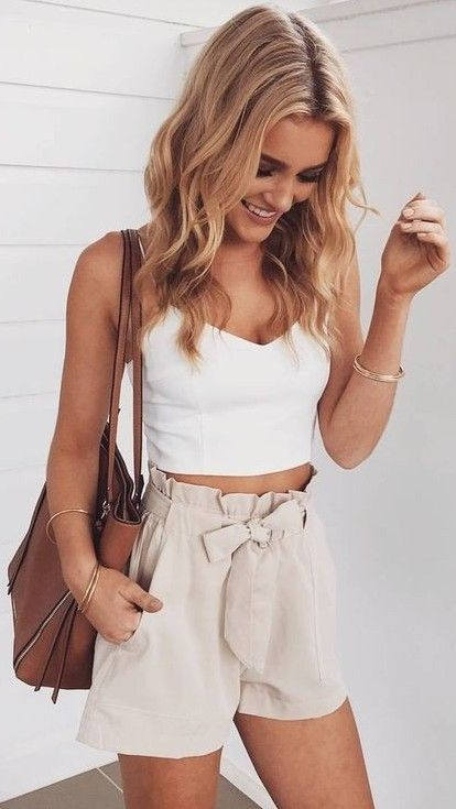 #summer #young #girls #outfits | White Crop + Nude Shorts