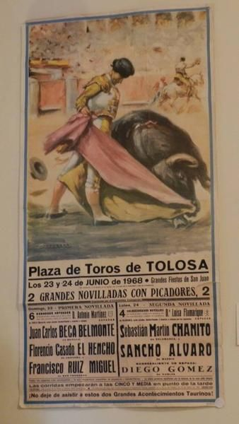 This  is a rare find of a vintage Plaza de Toros paper poster. It has been stuck together in places with sticky tape, but it was too good a poster not to save.