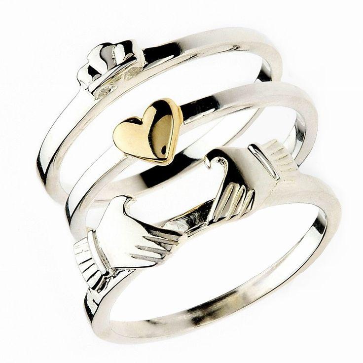 Three Piece Sterling Silver Claddagh Ring   Claddagh Jewellers.
