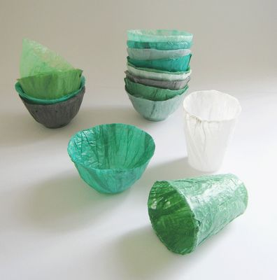 Cups and bowls made from plastic bags.