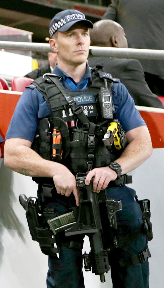 Pictured: Armed police outside Wembley Stadium for England v France football match | London | News | London Evening Standard