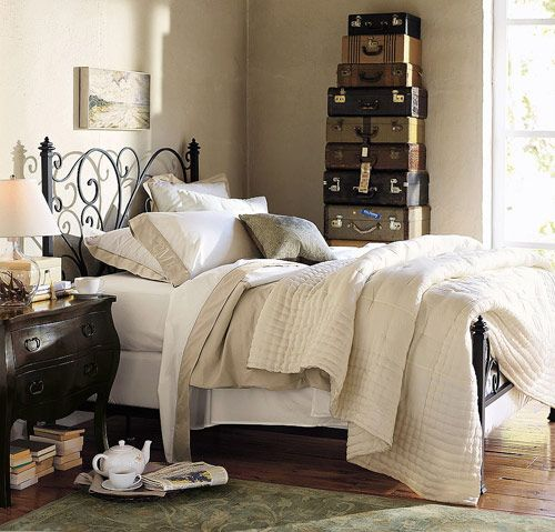 khakiGuestroom, Guest Room, Vintage Suitcases, Guest Bedrooms, Master Bedrooms, Wrought Iron, Beds Frames, Beds Headboards, Pottery Barns