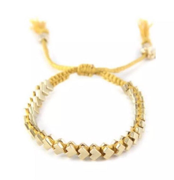"Ettika Gold Chevron Friendship Bracelet Yellow Ribbon Celebrity Boutique Saks 9""  | eBay"