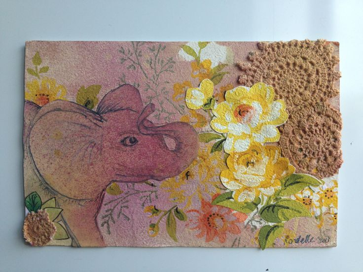 A little mixed media collage featuring #elephant and #vintagewallpaper #doilies #upcycled
