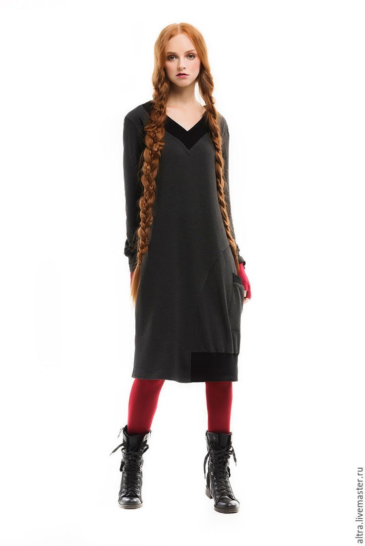 Купить Платье асимметричное - темно-серый, однотонный, платье, платье на каждый день, платье трикотажное