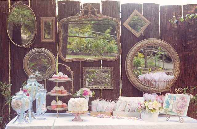 Vintage Tea Party Dessert Table - Love the Mirrors hanging on the fence