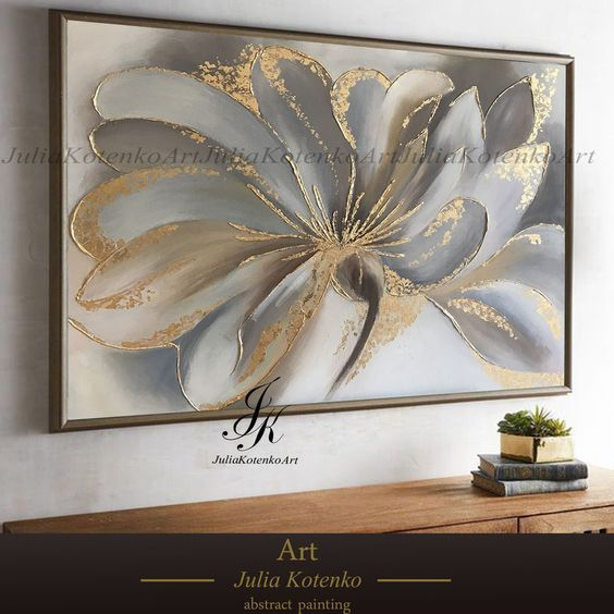 Flower Painting, Gold Leaf Art, Wall Art, Canvas a…