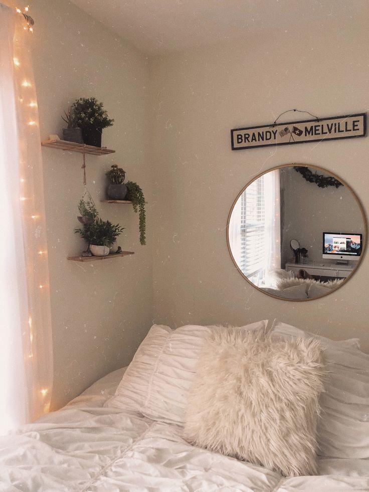 Aesthetic Dorm Room: White Walls Green Plants Fairy Lights