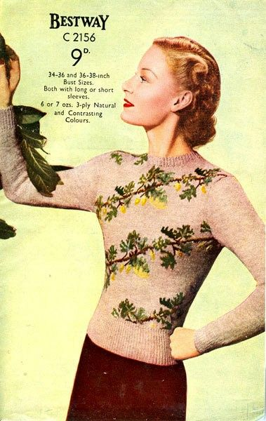 PDF Knitting pattern for a 1940s Fair Isle Jumper with a Berries and Leaves Design.. £2.00, via Etsy.
