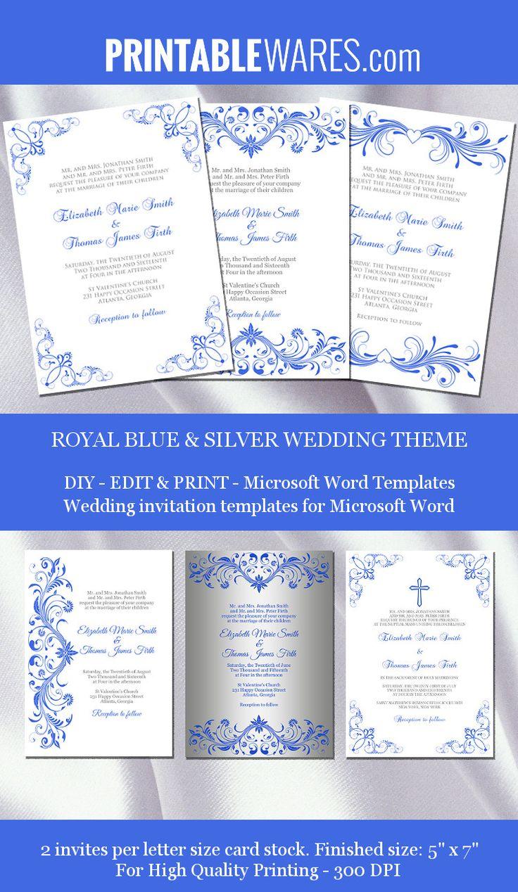 Royal blue and silver wedding invitation templates for Microsoft Word. Printable and editable, DIY!