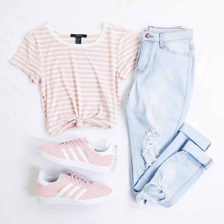 light pink outfit #adidas #jeans #springstyle #str…