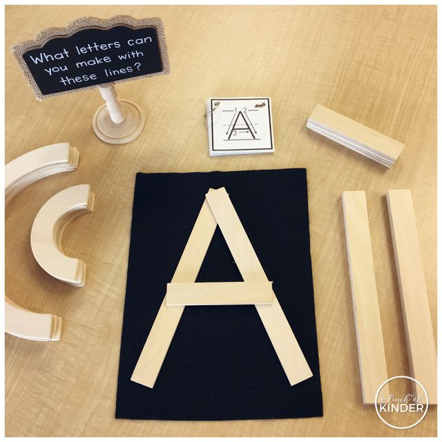 A Pinch of Kinder: What Letters Can You Make With These Lines? A Letter Constructing Provocation with Handwriting Without Tears Wood Pieces