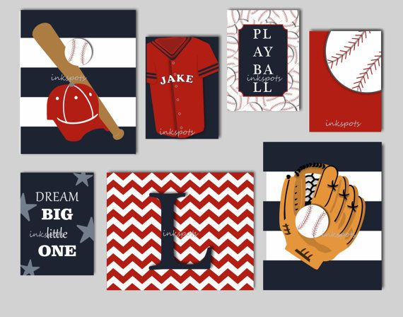Baby Boy Nursery Art Baseball Wall Art Baseball by inkspotsgallery