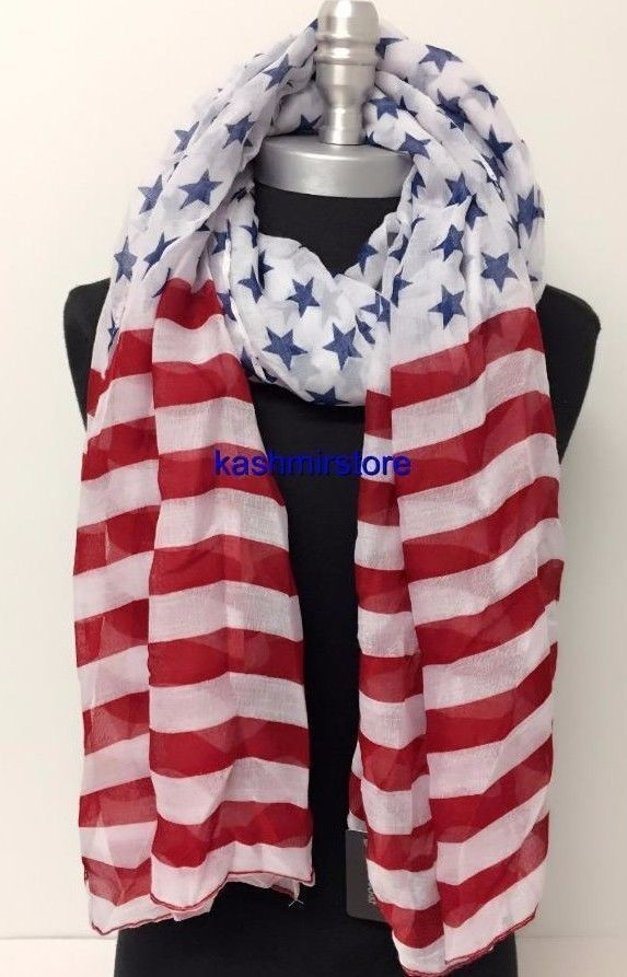 Women's American Flag Scarf Print Large Long Wrap Stars & Stripes Usa Shawl