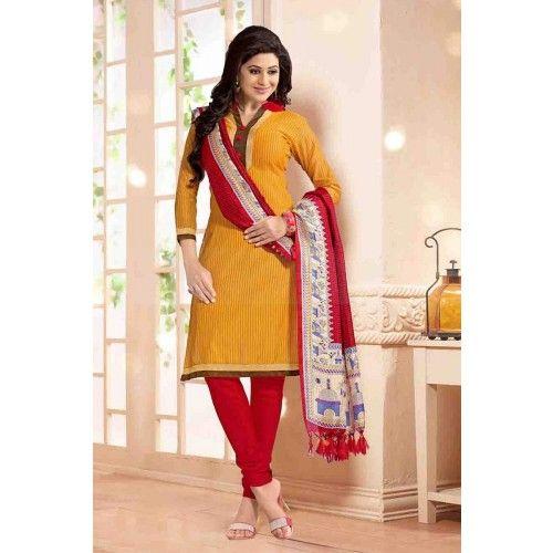 YELLOW CHANDERI CHURIDAR SUIT Price - £23.00 #IndianDesignerDress #FashionUK #OnlineDresses #ShopkundUK #PartywearSuit