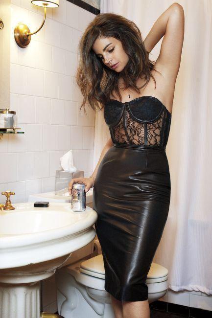 Julia Restoin Roitfeld ❤ ℒℴvℯ lace corset + leather skirt