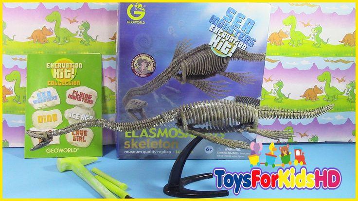 Fósil de Elasmosaurus Sea Monsters excavation Kit, videos de dinosaurios...