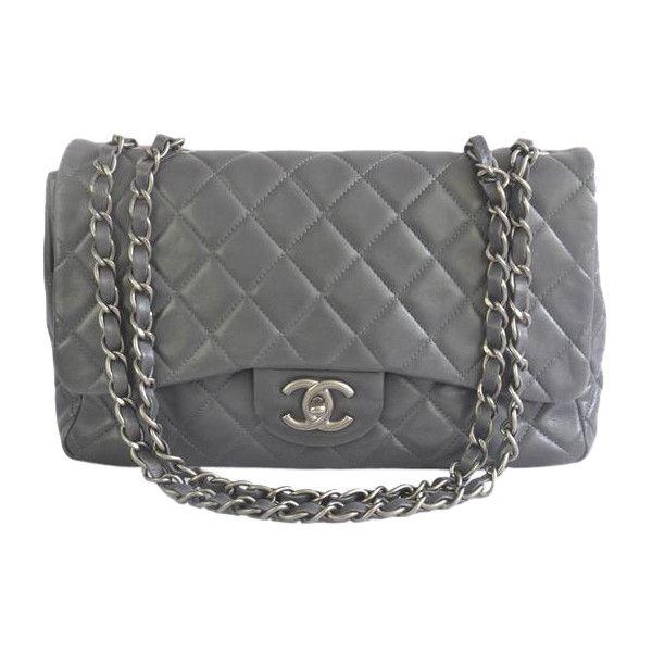 fbf22df74908 Pre-Owned Chanel Jumbo Grey Classic Lambskin Flap Bag ( 3