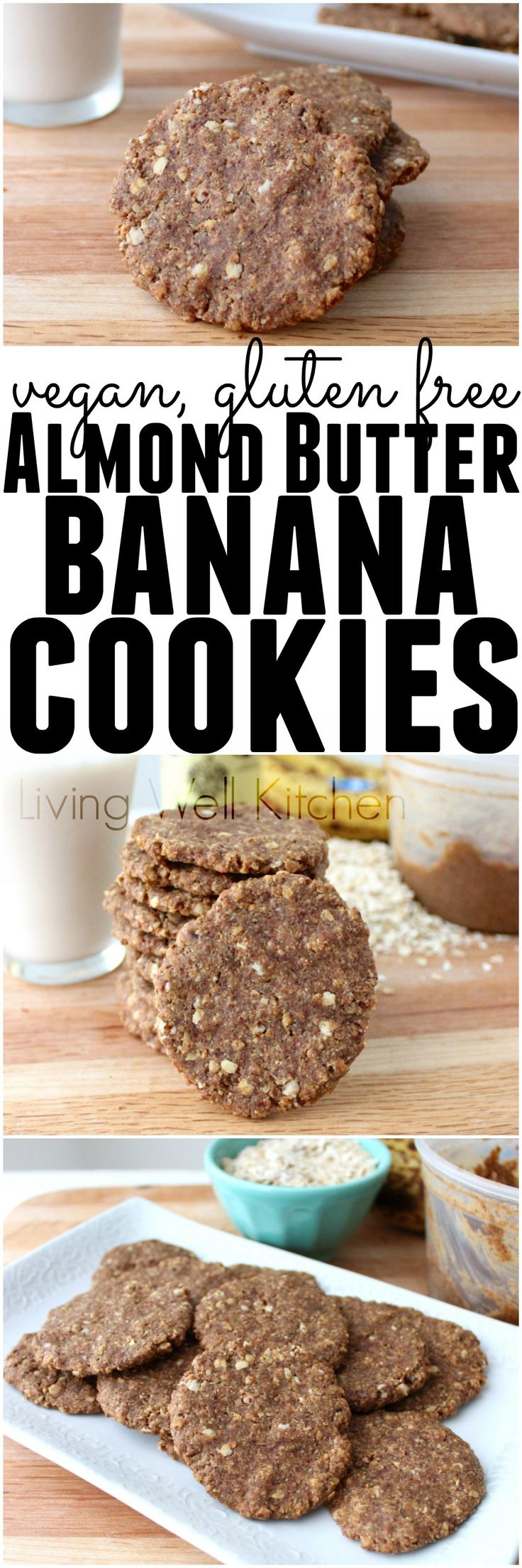 Gluten free, vegan Almond Butter Banana Cookie recipe from @memeinge. Five ingredient cookies with no added sugar, butter, or oil. They satisfy your sweet tooth without giving you a sugar crash. These aren't just for dessert; you can eat them for breakfast, too! via @memeinge