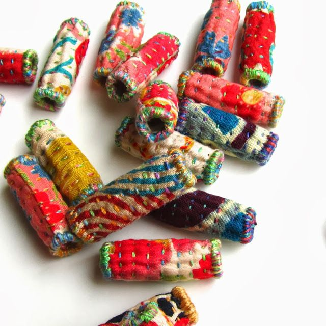 Saturday Stitches: Ooh, I could do some fun things with quilted beads such as these.