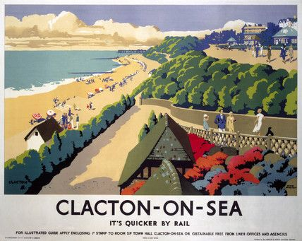 Vintage Travel Poster - UK - Clacton-On-Sea - Railway