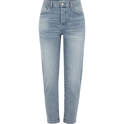 Blue authentic wash tapered jeans £40.00