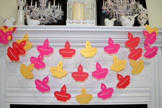Diya Diwali garland, Diwali garland banner, Diwali decorations, Happy Diwali decor, Diwal banner, red pink gold diyas