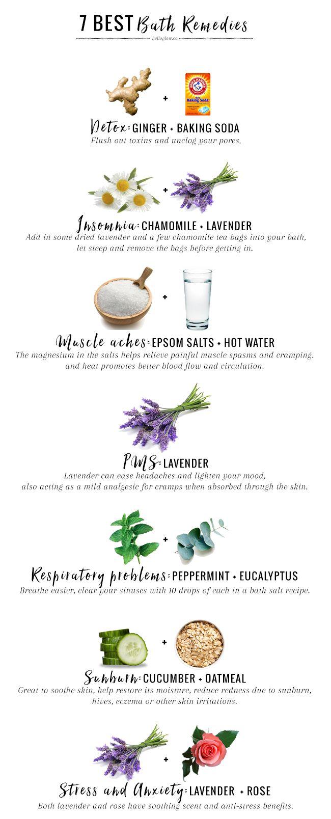 7 Best Bath Remedies For Everyday Ailments | http://helloglow.co/best-bath-remedies/