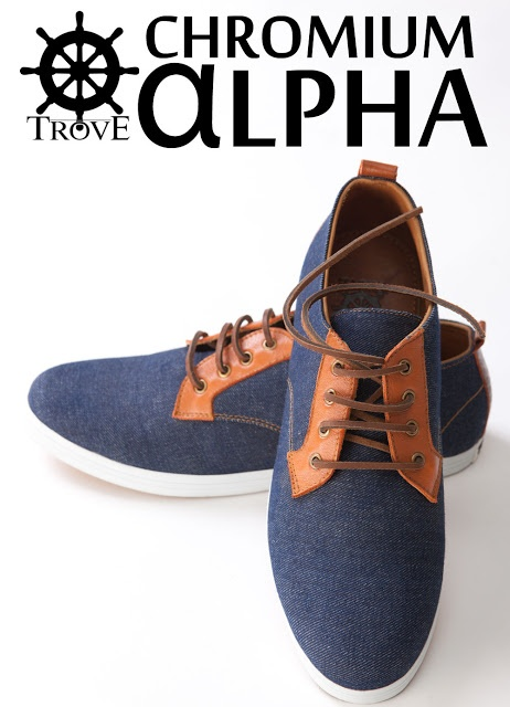 Denim and leather footwear with batik sculpture. (@TroveFootwear)