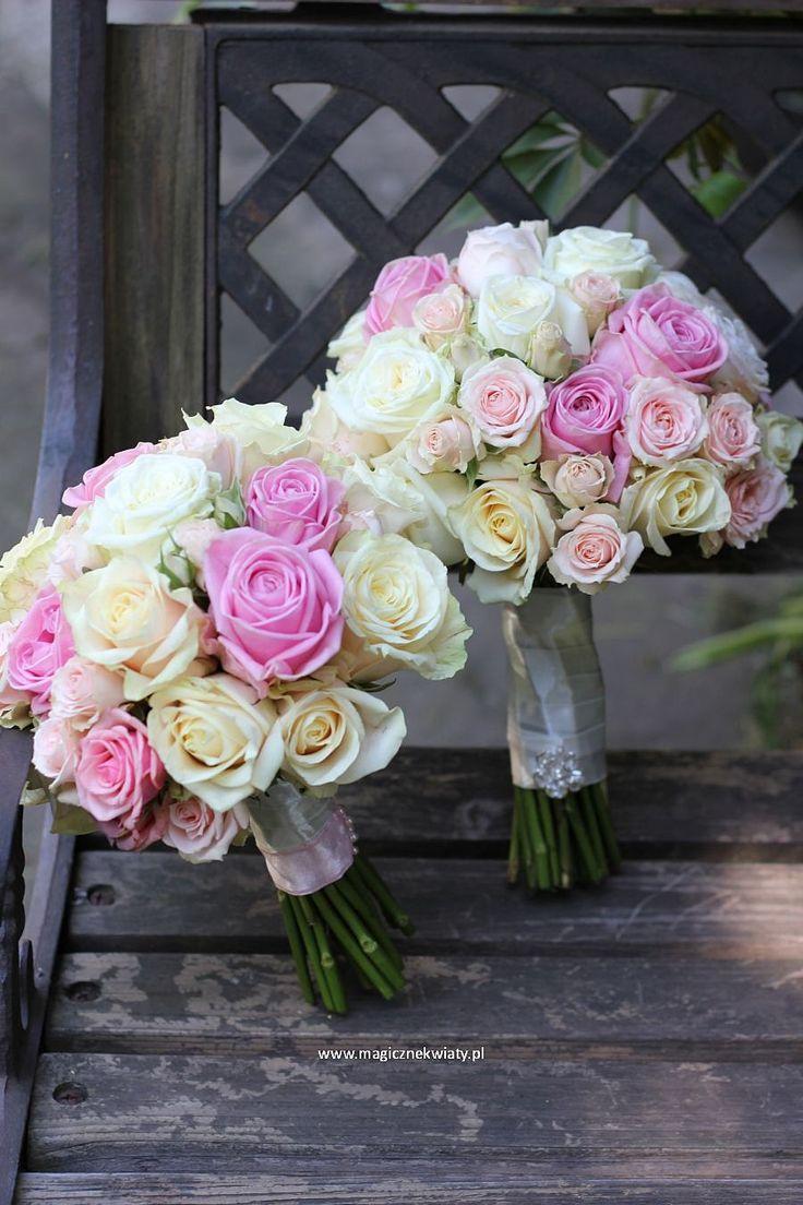 bukiet ślubny z róż, różany