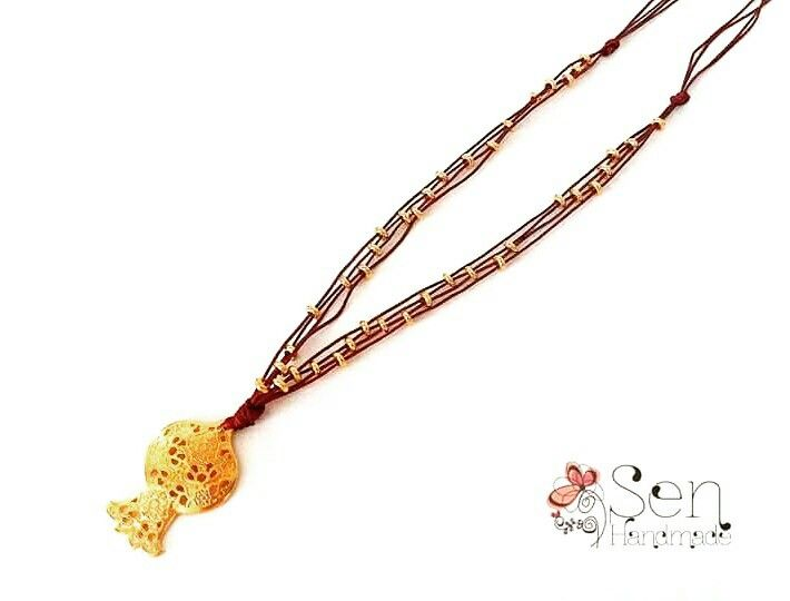 Good luck pendant Gold plated pomegranate