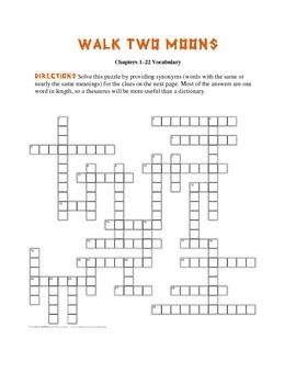 Printables Walk Two Moons Worksheets 1000 ideas about walk two moons on pinterest esperanza rising these crossword puzzles are based vocabulary from every answer is
