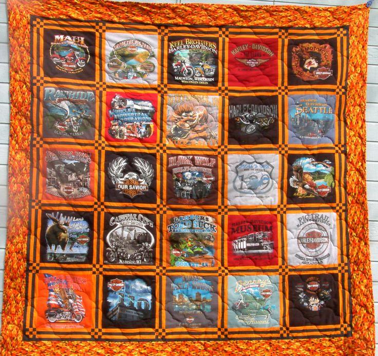 T Shirt Quilt Pattern Queen : Harley Davidson T-Shirt Quilt Queen Size Blanket ideas Pinterest Quilt, Queen size and ...