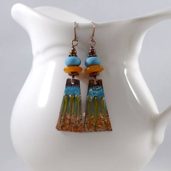 Copper Orange and Turquoise Boho Chic Earrings Antique Copper