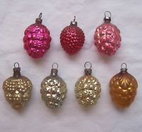 7 Vintage Glass Christmas Ornaments small strawberry berry grape pine cone lot