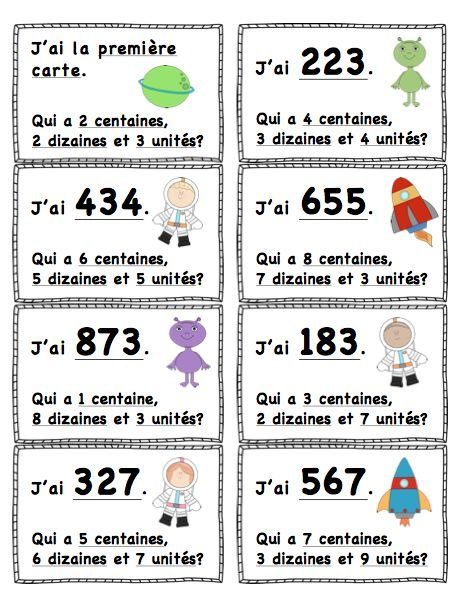 """J'ai...Qui A?"" Valeur de Position (L'Espace) 100-999 ""I Have...Who Has?"" Place Value (Space Themed) French or English and 0-99 Available!"