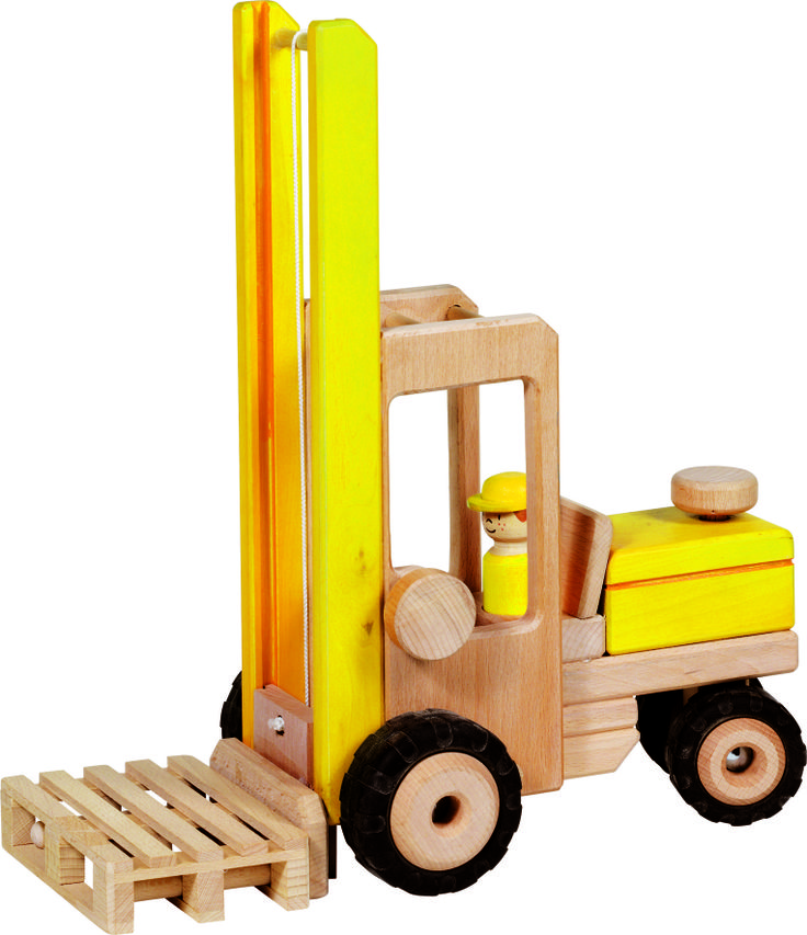 Natural and high quality toys to the development of the skills of children. Forklift truck with one palette