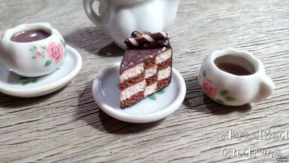 Checkerboard Cake Charm Food Jewelry Miniature by AndisaCharmsShop