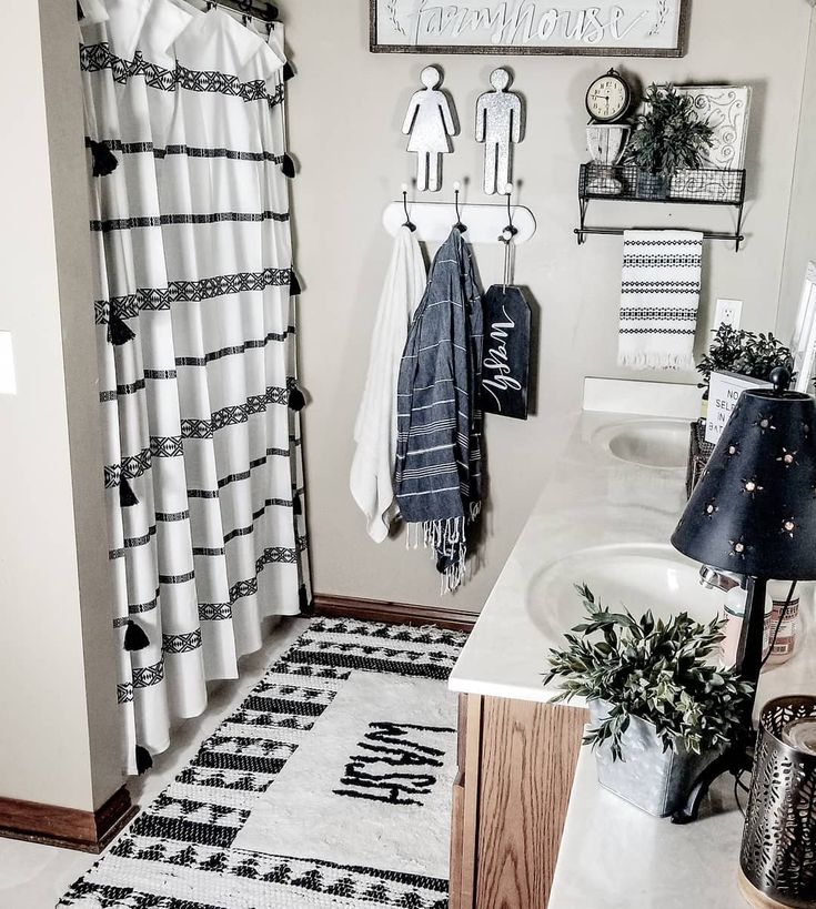 Black and white boho farmhouse style bathroom decor