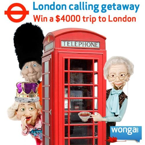 Win a $4000 trip to London that includes round trip airfare for two, a 7 night hotel stay, transfers and $500 spending money! Enter now: https://www.facebook.com/wongacanada/app_169792383183662  Repin to spread the word!  #winwithwonga