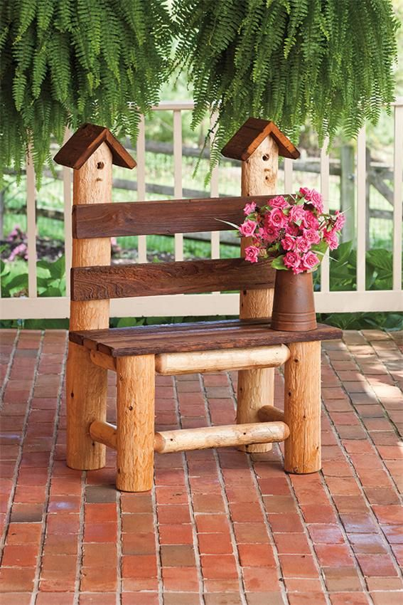 free images of birdhouse benches   Amish Birdhouse Bench 43304
