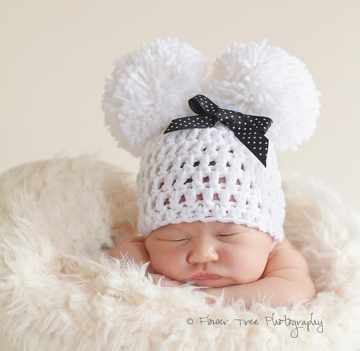 Newborn Pom Pom Hat Newborn Photo Prop White Pom Pom Hat