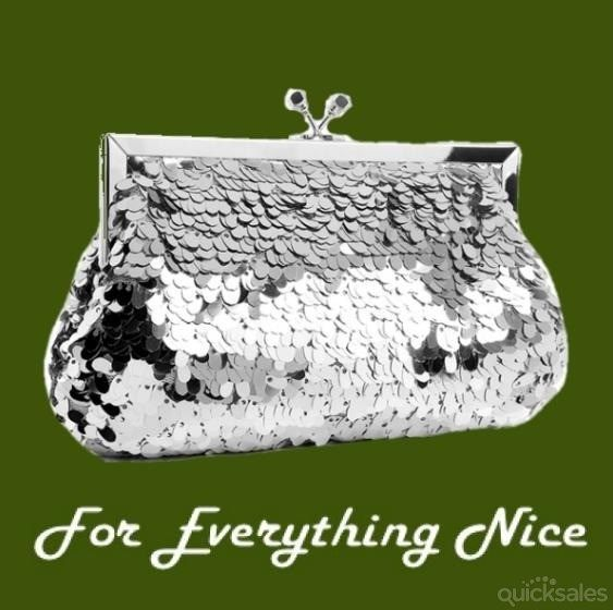 Shimmering Silver Oval Paillete Sequins Evening Bag Bridal Purse by JRMB7339 - $80.00